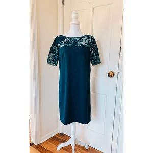 Ann Taylor | Muted Blue Lace Detailed Shift Dress